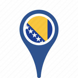 bosnia, county, flag, herzegovina, map, national, pin icon