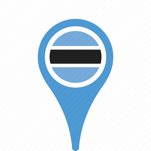 botswana, county, flag, map, national, pin icon