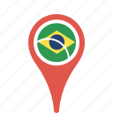brazil, country, county, flag, map, national, pin icon