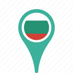bulgaria, county, flag, map, national, pin icon