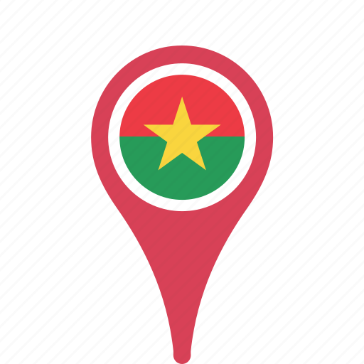 burkina, county, faso, flag, map, national, pin icon