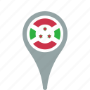 burundi, country, county, flag, map, national, pin icon