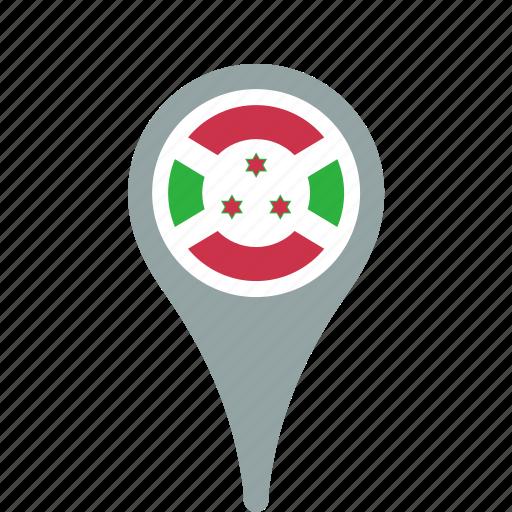 burundi, country, county, flag, map, national, pin icon