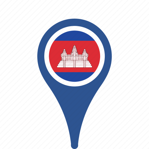 cambodia, county, flag, map, national, pin icon