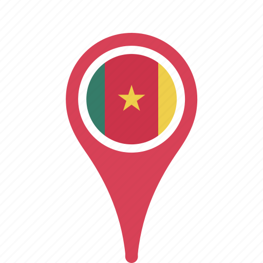 cameroon, county, flag, map, national, pin icon