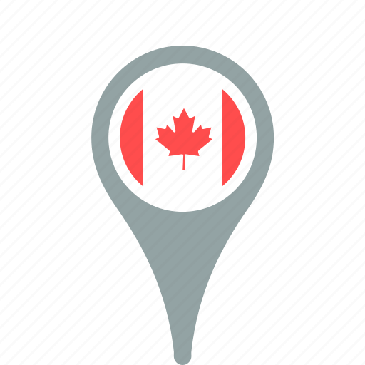 canada, county, flag, map, national, pin icon