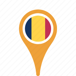 chad, county, flag, map, national, pin icon