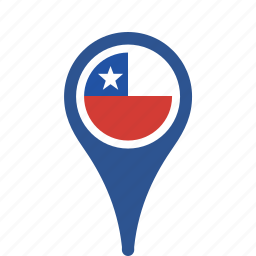chile, country, county, flag, map, national, pin icon