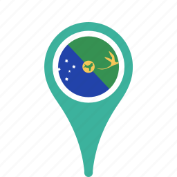 christmas, county, flag, island, map, national, pin icon