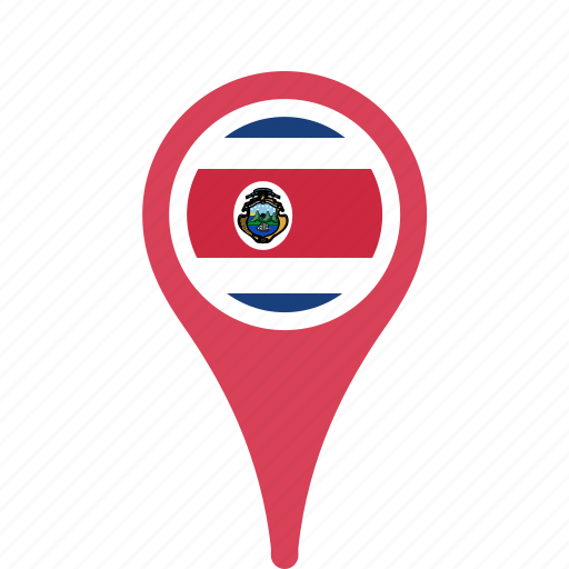 costa, county, flag, map, national, pin, rica icon