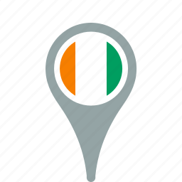cote, county, divoire, flag, map, national, pin icon