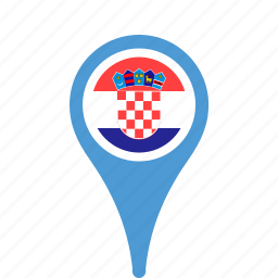 country, county, croatia, flag, map, national, pin icon