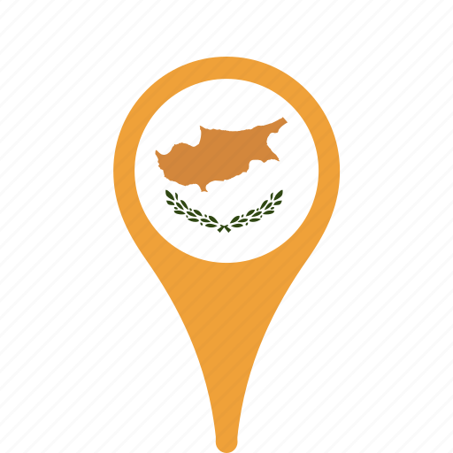 county, cyprus, flag, map, national, pin icon