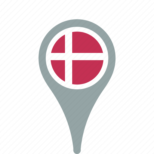 country, county, denmark, flag, map, national, pin icon