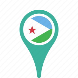 country, county, djibouti, flag, map, national, pin icon