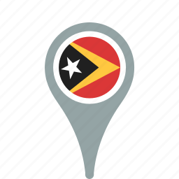 county, east, flag, map, national, pin, timor icon