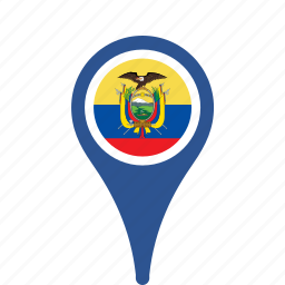 country, county, ecuador, flag, map, national, pin icon