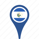 country, county, el, flag, map, national, pin, salvador icon