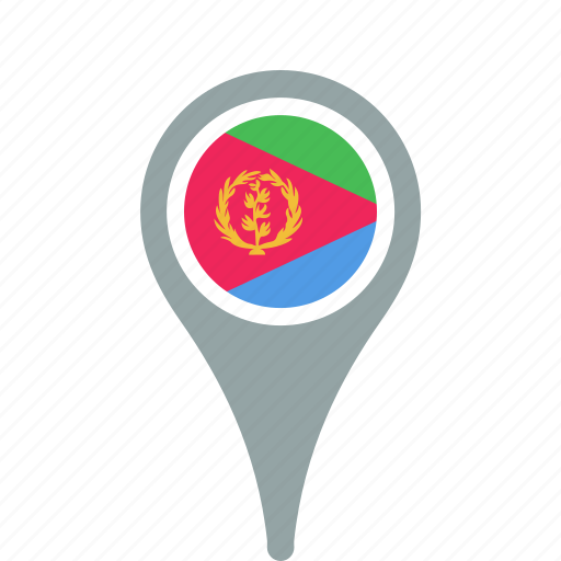 country, county, eritrea, flag, map, national, pin icon