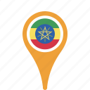 country, county, ethiopia, flag, map, national, pin icon