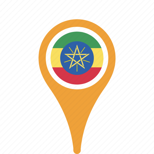 county, ethiopia, flag, map, national, pin icon