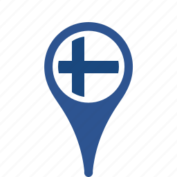 county, finland, flag, map, national, pin icon