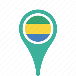 country, county, flag, gabon, map, national, pin icon
