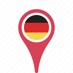 country, county, flag, germany, map, national, pin icon
