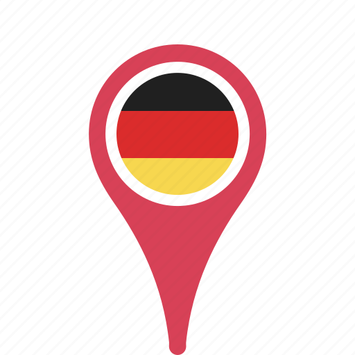 county, flag, germany, map, national, pin icon