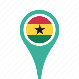 county, flag, ghana, map, national, pin icon
