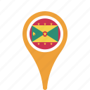 country, county, flag, grenada, map, national, pin icon