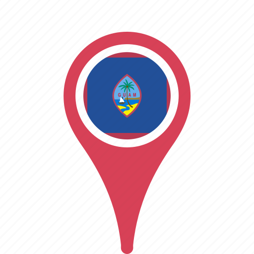 country, county, flag, guam, map, national, pin icon