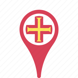 country, county, flag, guernsey, map, national, pin icon