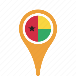 bissau, county, flag, guinea, map, national, pin icon