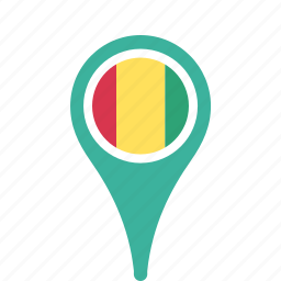 county, flag, guinea, map, national, pin icon
