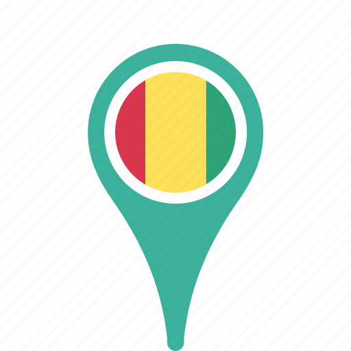 country, county, flag, guinea, map, national, pin icon
