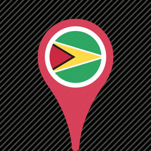 county, flag, guyana, map, national, pin icon