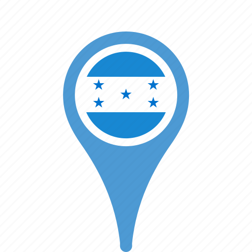 country, county, flag, honduras, map, national, pin icon