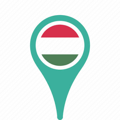 county, flag, hungary, map, national, pin icon