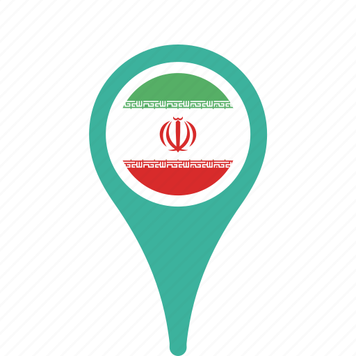 county, flag, iran, map, national, pin icon