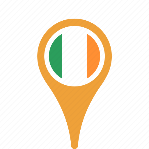 county, flag, ireland, map, national, pin icon