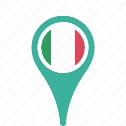 country, county, flag, italyl, map, national, pin icon