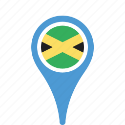 country, county, flag, jamaica, map, national, pin icon