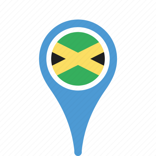 county, flag, jamaica, map, national, pin icon