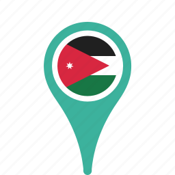 country, county, flag, jordan, map, national, pin icon