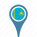 country, county, flag, kazakhstan, map, national, pin