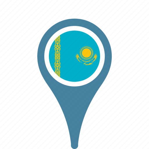 country, county, flag, kazakhstan, map, national, pin icon