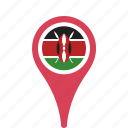 country, county, flag, kenya, map, national, pin icon