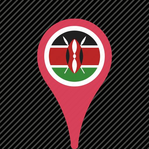 county, flag, kenya, map, national, pin icon