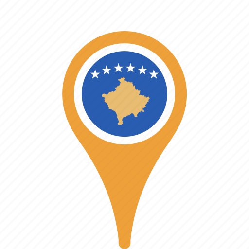 country, county, flag, kosovo, map, national, pin icon